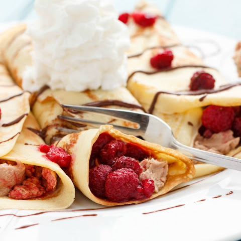 Leftover Chocolate Buttercream and Raspberry Crepes