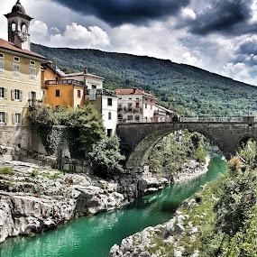 The bridge by Andreja Svenšek - City,  Street & Park  Vistas ( mountain, nature, mountain village, slovenia, travel, bridge, rivers, travel photography, river,  )