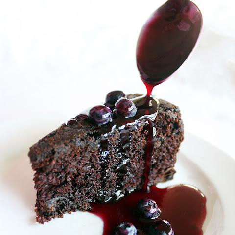 Chocolate Cake Blueberry Sauce