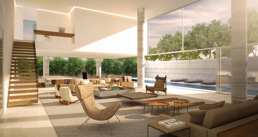 Perspectiva do Living e Jantar do Duplex Garden - 738 m²