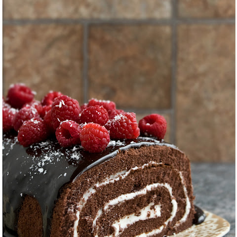 Mocha Cake Roll With Raspberries