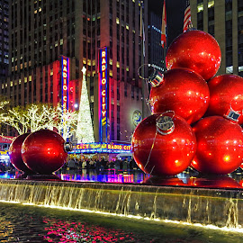 Christmas at Radio City Music Hall by Carol Ward - Public Holidays Christmas ( night photography, radio city music hall, christmas, holiday decorations, new york city, new york, nyc, nightscape,  )