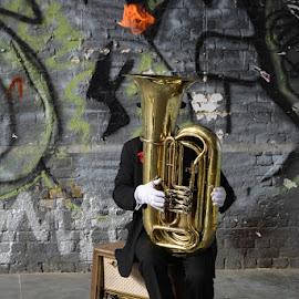 Tuba and fire! by Mihăiță Arambașa - Novices Only Street & Candid ( tuba; fire; music )