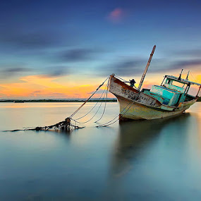 Blue Morning by Agoes Antara - Transportation Boats