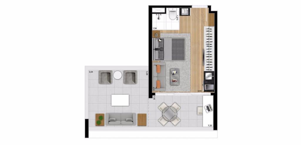 Planta UpHouse 44 m²