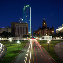 Light trails at Dealy Plaza - Dallas, TX by Jëff Mürray - Buildings & Architecture Public & Historical ( texas, light trails, night, long exposure, city )