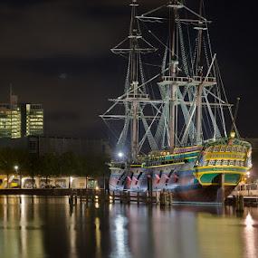 VOC ship by Bim Bom - Transportation Boats ( dutch east india company voc ship replica night water reflection river amsterdam,  )
