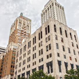 This is Tulsa by Rob Heber - Buildings & Architecture Office Buildings & Hotels ( walking, old, skyscrapers, brick, street, curb, signal, office building, architecture, parked, people, city, street corner, street sign, towers, cars, mortar, buildings, old fashioned, couple, classic, intersection, fire escape, corner, windows, concrete, sturctures, sign, street light, urban, tower, traffic )