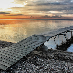 The Platform by Ingrid Dendievel - Landscapes Waterscapes ( nature, sunset, sea, zealand, beach, denmark, landscape )