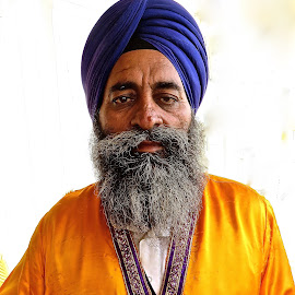 PORTRAIT OF A SIKH MAN by Doug Hilson - People Portraits of Men ( blue & orange, sikh, turban, beard, man, portrait,  )