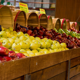 Apples and Apples by Dan Bartlett - Food & Drink Fruits & Vegetables ( apples red yellow bushel basket stand )