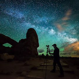 The Night Watchman by Derrick Snider - Landscapes Starscapes ( moab, sky, night photography, utah, star, night, nikon, landscape, starscape, nightscape, milky way )