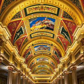 The Grand Hall by Phil Hanna - Buildings & Architecture Other Interior ( hall, red, art, column, macau, casino, yellow, hallway, gold, bue, venetian, pillars )
