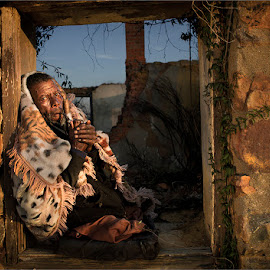 Man with no legs by Dries Fourie - People Portraits of Men