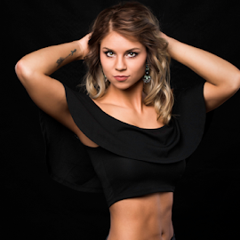 Goals by Bob Grandpre - People Portraits of Women ( black background, abs, muscles, worman )