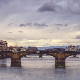 View from Ponte Vecchio by Jesi Smith - City,  Street & Park  Vistas ( florence, italia, firenze, bridge, arno, italy,  )