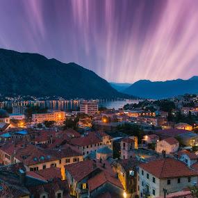 Dream by Srdjan Vujmilovic - Landscapes Sunsets & Sunrises ( reflection, mountains, skyline, sky, church, horizontal, outdoor, sea, ocean, architecture,  )
