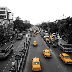 The city never stop by Sudip Chowdhury - Transportation Automobiles ( street, india, yellow, city )