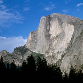 Half Dome at Yosemite by Dale Kesel - Landscapes Travel ( clouds, halfdome, sky, pine tree, yosemite, composition, granite )