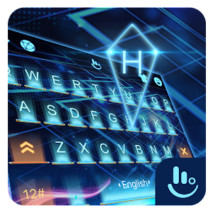 3D Blue Neon Future Keyboard Theme For PC