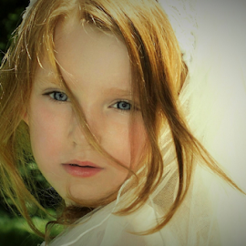 Windy Hair in a Veil by Cheryl Korotky - Babies & Children Child Portraits
