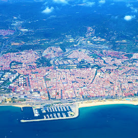 Aerial - Barcelona by Svetlana Saenkova - Landscapes Travel ( blue water, coastline, piers, aerial, water,  )