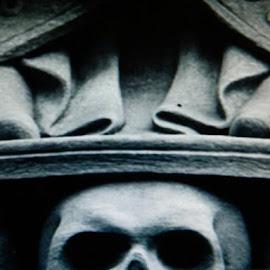 Evil Lurks by Nancy Bowen - Novices Only Objects & Still Life ( skull, dark, architecture )