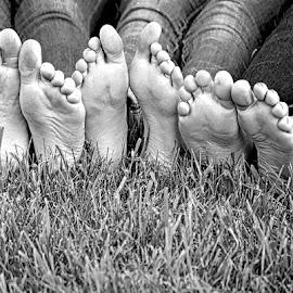 Best Friends by Judy Laliberte - Novices Only Street & Candid ( girls, friends, grass, b & w, bare feet )