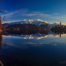 Lake Bled by Miroslav Asanin - Landscapes Travel ( clouds, reflection, europe, beautiful, tourism, lake, landscape, canon eos, panorama, exploration, island, landmark, adventure, mountains, blue sky, slovenia, view, sunrise, travel photography )
