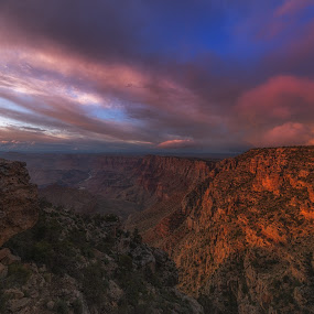 Grand Canyon Vivid Sunset by Bryan Snider - Landscapes Sunsets & Sunrises ( clouds, grand canyon national park, colors, canyon, national parks, travel, grand canyon, landmark, sky, landmarks, sunset, sunsets, arizona, weather, rocks, golden hour,  )