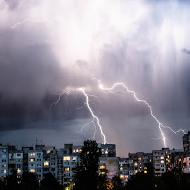 Storm by Georgi Tsachev - City,  Street & Park  Night ( sky, rain, storm, city, night, clouds )