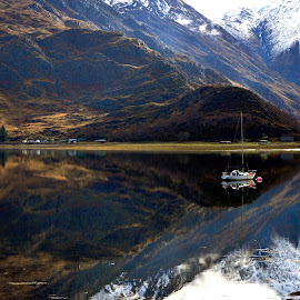 Loch Duich by Sue Bernhard - Smith - Landscapes Waterscapes ( water, reflections, loch, boat )