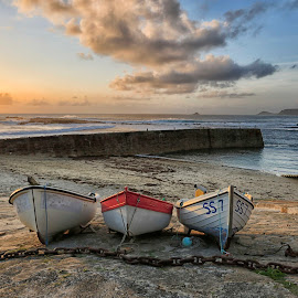 Three Boats  by Helen Quinn - Transportation Boats ( cornwall, waterscape, beach, boats, three,  )