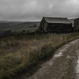Bleak by Marc Steele - Landscapes Mountains & Hills ( clouds, countryside, hills, cloudy day, uk, grass, valley, rural, kirklees, england, sky, bleak, yorkshire, buildings, path, derelict, weather, wet, peak district, rain )