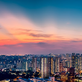 The sunset from urban Singapore by Binoy Uthup - City,  Street & Park  Skylines ( cityscapes, skyline, hdr, colourful sky, blue hour, aerial, cityscape, hdr photography, panorama, singapore, colours, city, nightscape, blue sky, multiple exposures, night photography, blue, colours in the sky, sunset, long exposure, night, light, night shot, panoramic )