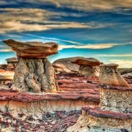 Mystical Bisti by Tom Weisbrook - Landscapes Caves & Formations ( erosion, san juan county, desolate, shale, sandstone, remote, usa, new mexico, wilderness, bisti badlands, petrified wood, hoodoos, fossils )