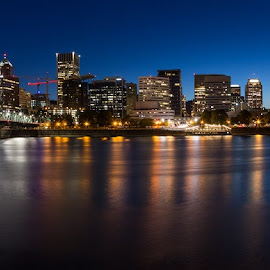 Portland at Night by Mats Nordgren - City,  Street & Park  Skylines ( lights, skyline, portland, night, city )