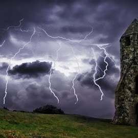 Pepper Pot Storm by Kelly Murdoch - Landscapes Weather ( lightning, sky, lighting, pepper pot, iow, cloud, weather, night, isle of wight, storm, st catherines, ztam )