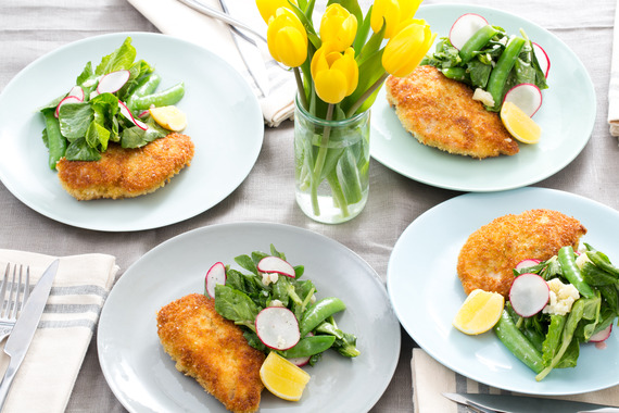 Crispy Chicken Cutlets with Sugar Snap Pea, Pea Tip & Radish Salad ...