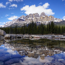 Castle Mountain by Laurie Bartlett - Landscapes Mountains & Hills ( #castlemountain #rockymountains #reflection #banffnationalpark #tranquility )