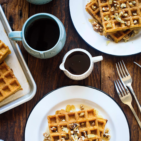 Yeasted Pumpkin Waffles with Candied Ginger