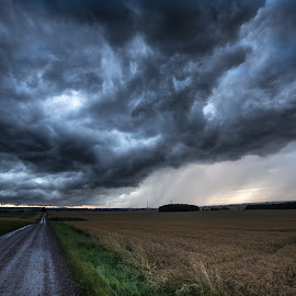 Waiting for the Storm by Jocke Mårtensson - Landscapes Cloud Formations ( clouds, thunderstorm, road, storm, fields )