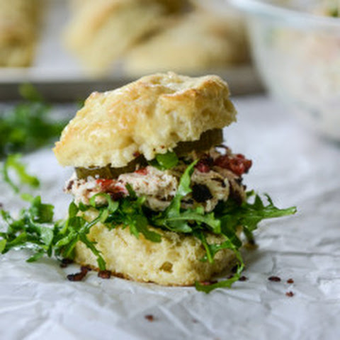 Pimento Cheese Chicken Salad on Honey Butter Biscuits