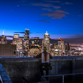 rooftop by Chris Shaffer - City,  Street & Park  Skylines ( day job, skyscraper, seattle, blue hour, seattle roof tops )