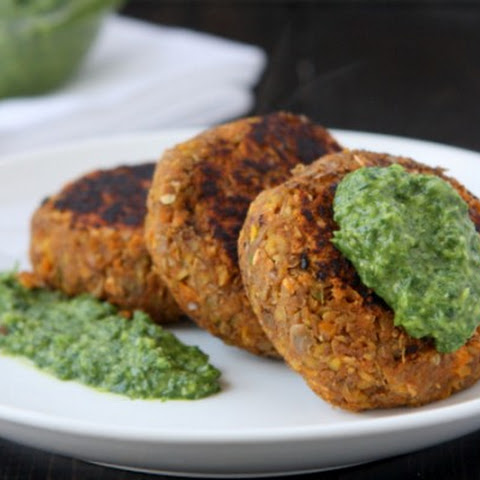 Spicy Lentil Cakes with Miso Gremolata