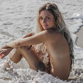 shoreline by Daniel Jamieson - Nudes & Boudoir Artistic Nude ( sand, model, blonde, girl, nude, summer, ocean, beach )