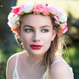 Flower power by Chris O'Brien - People Portraits of Women ( colour, girl, location, woman, beautiful, flowers, eyes )