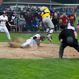 The winning run by Greg Varney - Sports & Fitness Baseball ( baseball, 2015, varsity, o'dea, playoffs, kelso, winning play )