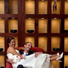 Lounging by Andrew Morgan - Wedding Bride & Groom ( love, weddingday, happy, wedding, bride and groom, smile )