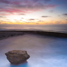 LaJolla Beach Pool by Dean Mayo - Landscapes Beaches ( ca, sunset, art, beach, lajolla, dean mayo )
